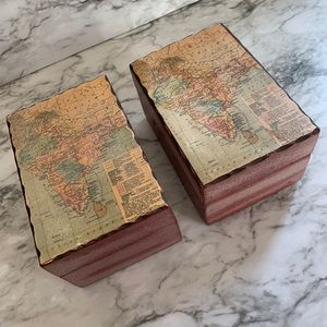 Other - Decorative map wooden boxes set of 2
